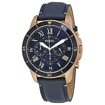 Fossil FS5237 Grant Blue Leather Quartz Dress Men's Watch