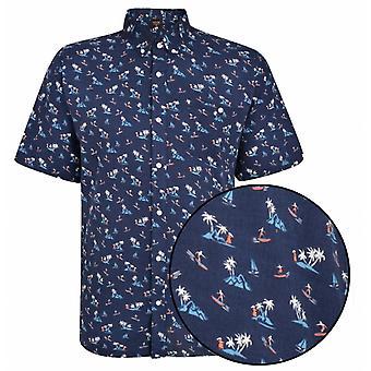 ESPIONAGE Espionage Surf Print Casual Short Sleeve Shirt