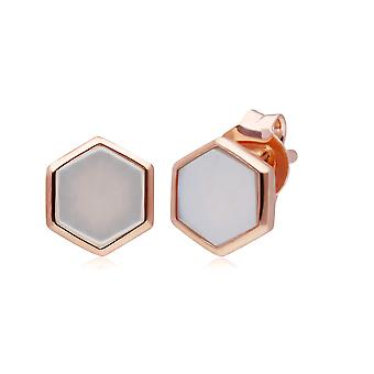 Micro Statement Mother of Pearl Stud Earrings in Rose Gold Plated 925 Sterling Silver 270E029803925