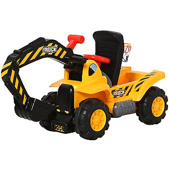 HOMCOM 4-In-1 Kids Ride-On Tractor Scooter w/ Storage Basketball Net Steering Wheel Vehicle Toy Moving Digger Scoop Truck Wide Seat 3-8 Yrs