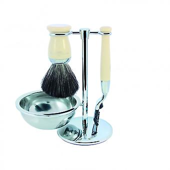 Set Of Shaving 4 Black Pieces And Chrome - Edwin Jagger