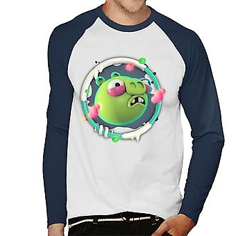 Angry Birds Pig 3D Badge Men-apos;s Baseball Long Sleeved T-Shirt