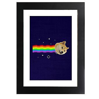 Doge Nyan Cat Meme Framed Print