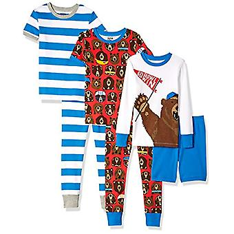 Brand - Spotted Zebra Big Kids' 6-Piece Snug-Fit Cotton Pajama Set, Sp...