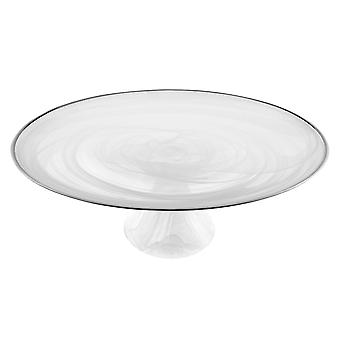 Handcrafted Optical Glass and White Silver Footed Cakestand With Silver Rim