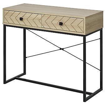 HOMCOM Embossed Arrow Side Table w/ 2 Drawers Metal Frame Handles Back Bar Tabletop Unique Home Style Storage End Console
