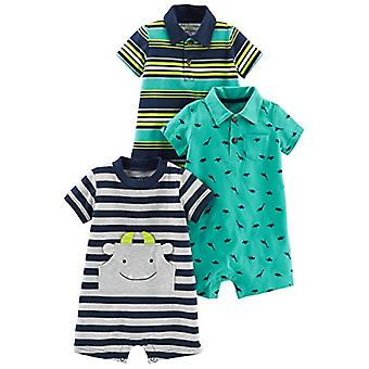 Simple Joys by Carter's Baby Boys' 3-Pack Rompers, Blue Stripe/Turquoise Dino...