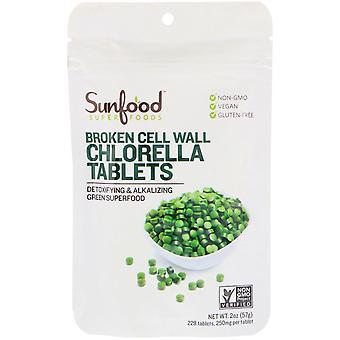 Sunfood, Broken Cell Wall Chlorella Tablets, 250 mg, 228 Tablets, 2 oz (57 g)