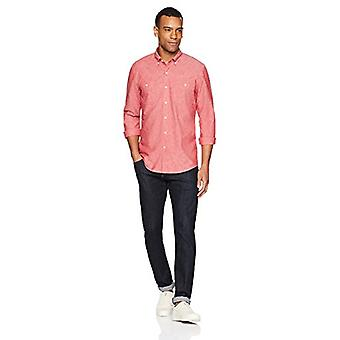 Goodthreads Men's Standard-Fit Long-Sleeve Chambray Shirt, red, XX-Large