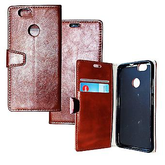 Huawei Nova Shell with Card Holder Leather Etui Brown Protection