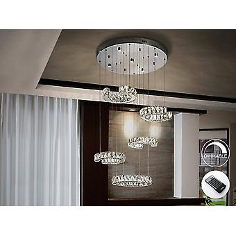 Integrated LED Dimmable Crystal Cluster Drop Ceiling Pendant with Remote Control Chrome