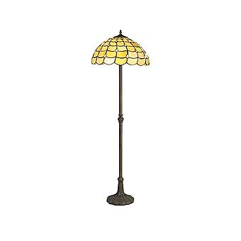 Luminosa Lighting - 2 Light Leaf Design Floor Lamp E27 With 40cm Tiffany Shade, Beige, Clear Crystal, Aged Antique Brass