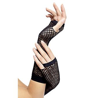 Ladies Black Fishnet Fingerless Gloves 80s Fancy Dress Costume Accessory