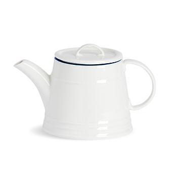 Nicola Spring Country Farmhouse Valkoinen teekannu sinisellä reunalla - 900ml