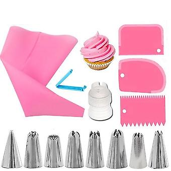 Reusable Icing Piping Nozzles Set - Pastry Bag, Scraper, Baking Cup Diy Cake