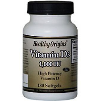Origines saines Vitamine D3, 1000 UI, 180 Gels mous