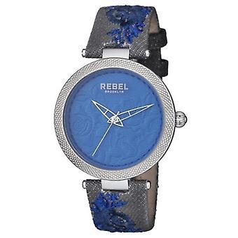 Rebel Women-apos;s RB112-4141 Carroll Gardens Blue Dial Flower Design Canvas Watch