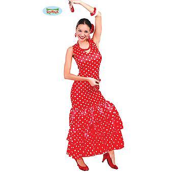 Fantasia de dançarina de flamenco espanhol para senhoras vermelho
