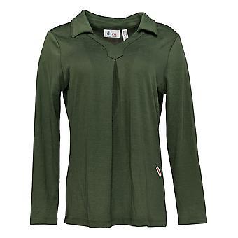 Denim & Co. Women's Top Jersey Long Sleeve W/ Pleating Detail Green A349968