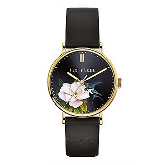 Ted Baker Watches Black Floral Dial Black Leather Strap Ladies Watch BKPPFF910