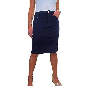 Kvinner's Knelengde Myke Jeans Skjørt Damer Veldig Elastisk Denim Skjørt 10-22