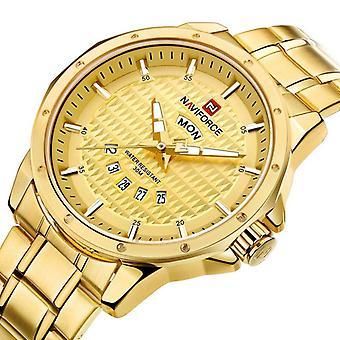 NAVIFORCE 9115 Mężczyźni Oglądają Luksusowy pasek ze stali nierdzewnej Moda kwarcowy zegarek na rękę