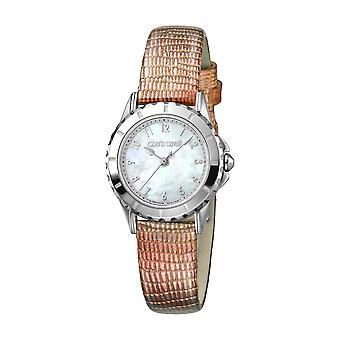 Roberto Cavalli Kvinnor' s vita pärlemor Dial Rosa Läder Klocka