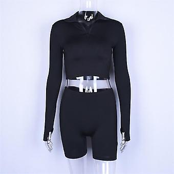 Hugcitar Long Sleeve Zipper High Neck Elastic Sexy Crop Tops Shorts Summer