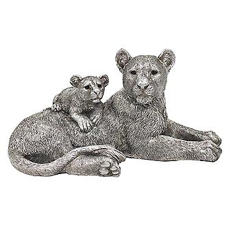 Leonardo Collection Reflections Silver Painted Lion & Baby Resin Figurine