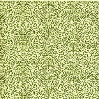 Dolls House Green Cream Acorns Wallpaper Miniature Print 1:12 Scale