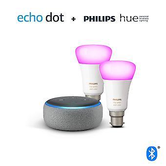 Echo dot (3e generatie), heidegrijze stof + philips hue white & colour ambiance smart bulb twin pack l