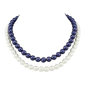 Eternal Collection Monarch Two Strand White And Midnight Blue Shell Pearl Necklace
