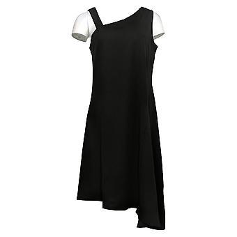 H door Halston Petite Dress One-Shoulder Asymmetrische Hem Black A306922