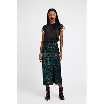 Louche Womens Laina Sequin Pencil Skirt Green