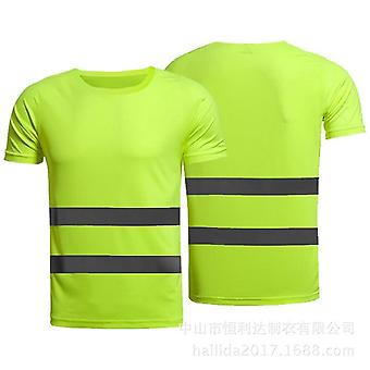 Outdoor Sports Fluorescent Visibility Safety Work Shirt Summer Breathable