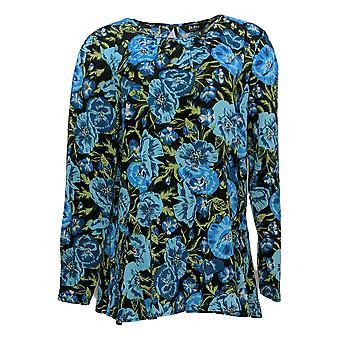 Du Jour mujeres'top de manga corta alta baja punto con detalle tejido azul A345231