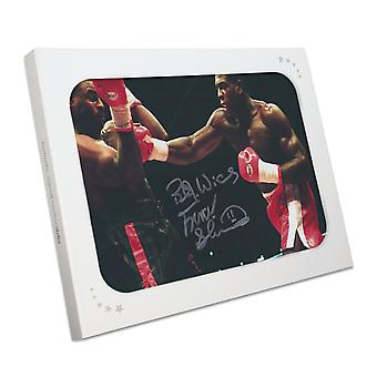 Frank Bruno Signed Boxing Photo: Fighting Oliver McCall. In Gift Box