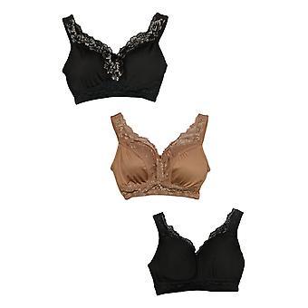 "Rhonda Shear One 3-pack ""Betty"" Pin-Up Bra with Pads Black Set 689-482"