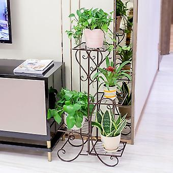 Wrought Iron Multilayer Flower Solid Wood Flowerpot Sitting Room Balcony Indoor