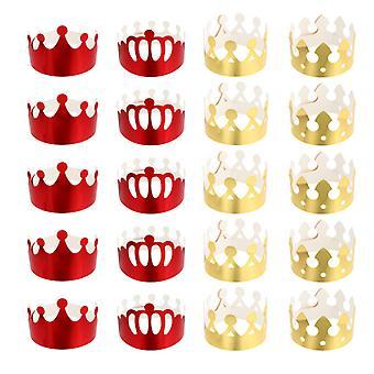 Papírová koruna narozeninová párty čepice pro děti zlaté a červené 20ks