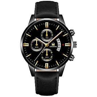 Montres Homme, Sport Stainless Steel Case, Leather Strap, Watch Quartz,