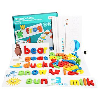 Children's Educational Wooden Spelling Word Game English Letters Cognitive Learning