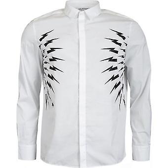 Neil Barrett Waisted Fair-Isle Thunderbolt Shirt