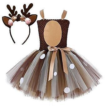 Hirsch Kleid Kleider mit Stirnband Halloween Kostüm Elch Cosplay