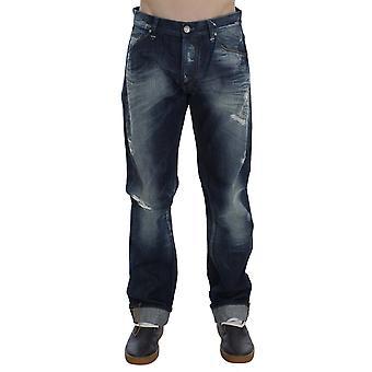 Acht Blue Wash Cotton Denim Régulièrement Fit Creased Jeans
