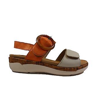Remonte R6853-38 Orange Leather Womens Sling Back Sandals