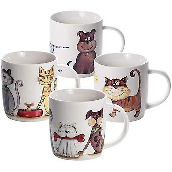 Mugs Cups for Tea Coffee and Hot Drinks, Set of 4 Porcelain China Gift for Dog Cat and Animal Lovers