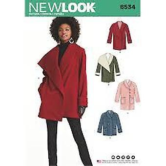 New Look Sewing Pattern 6534 Misses Coat Size 6-18 Euro 32-44