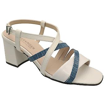 Peter Kaiser White & Blue Croc Effect Leather Mid Block Heel Strappy Sandal
