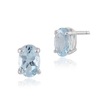 Classic Oval Aquamarine Stud Earrings in 9ct White Gold Claw Set 6x4mm 8568